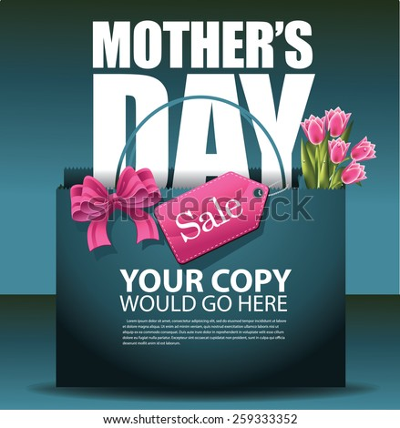 Mothers Day sale shopping bag background EPS 10 vector royalty free stock illustration for greeting card, ad, promotion, poster, flier, blog, article, social media, marketing - stock vector