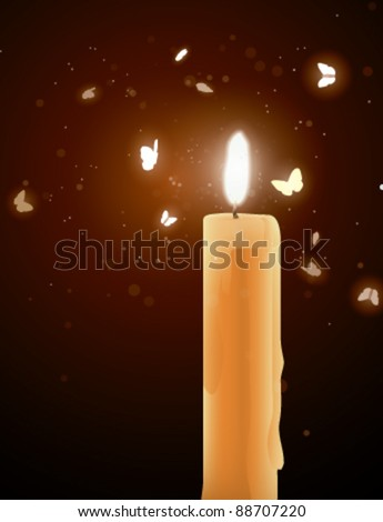 Moths near a candle - stock vector