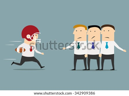 Motivated confident cartoon businessman in american football uniform rushes to the goal, despite the obstacle from competitors - stock vector