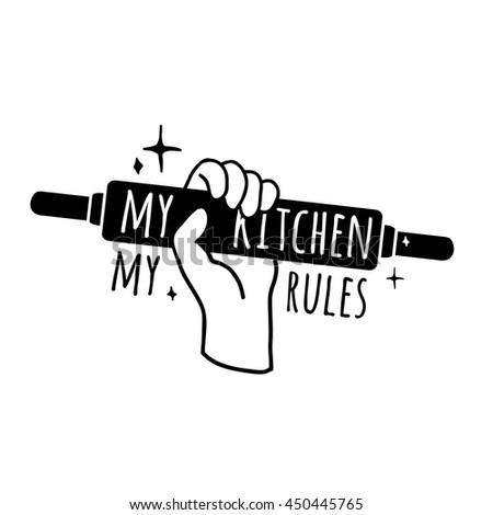 The Kitchen Logo motivational poster kitchen logo symbol badge stock vector