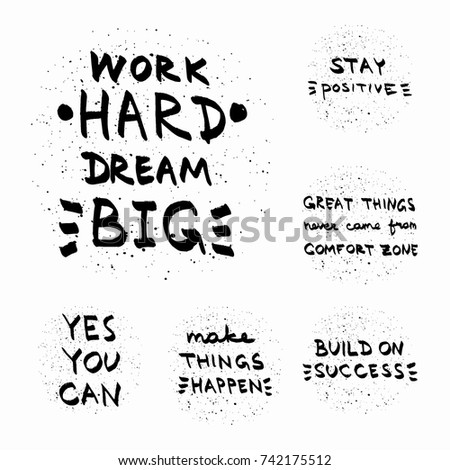 Motivational Quotes Vector Set Hand Drawn Typography For Posters Invitations Greeting Cards Or T