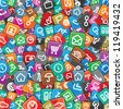 Motley Apps Pattern. Background with Many Random Multicolored Web Icons. - stock photo