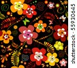 Motley seamless black flower pattern (vector) - stock vector