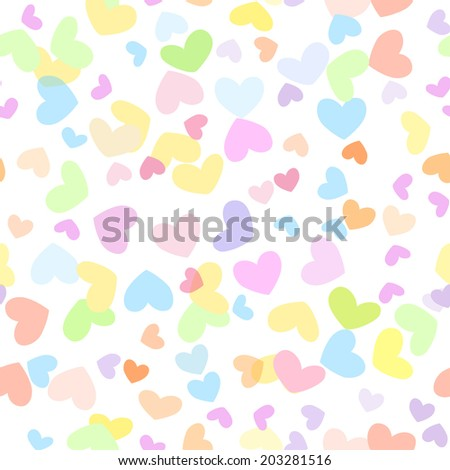 Motley seamless girly background with colorful hearts - stock vector