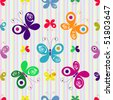 Motley seamless striped pattern with colorful butterflies (vector) - stock photo