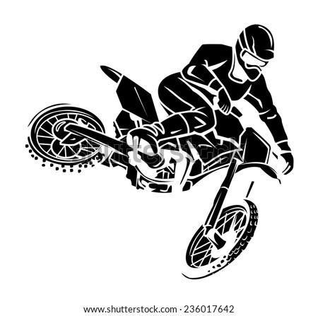 Moto cross rider - stock vector