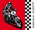 moto motocycle retro vintage classic vector illustration - stock vector