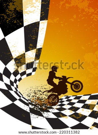 motocross background design with grunge element and place for text  - stock vector