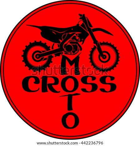Motocross dirt-bike round sign - stock vector