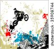 motocross grunge vector background - stock vector