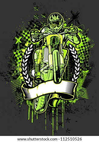 MotoCross Grunge. Vector illustration of an adult motocross rider jumping high in the air over checkered flags, crosses, scribbles, halftone patterns, textures, and paint splatter design elements. - stock vector