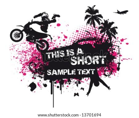 Motocross Poster - stock vector