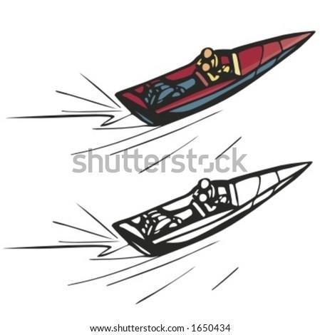 Motor boat. Vector illustration - stock vector