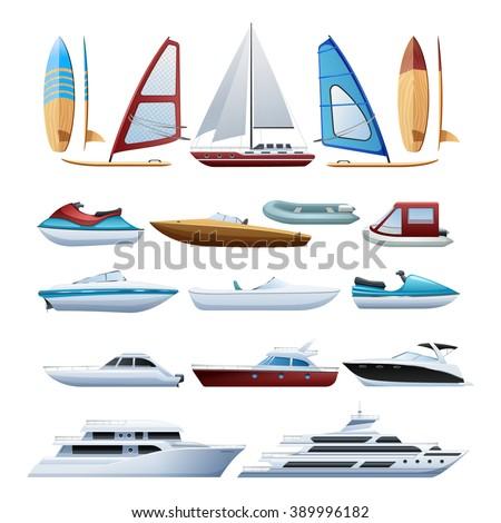 Motor boats catamaran windsurfer and sailboat various types of water transport flat icons set abstract isolated vector illustration - stock vector