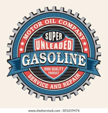 Motor gasoline typography, t-shirt graphics, vectors - stock vector