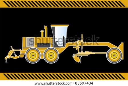 Motor Grader construction machinery equipment isolated - stock vector