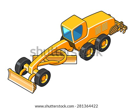 Motor grader with second blade vector color illustration. Isolated isometric view icon