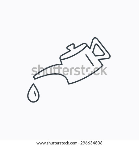 Motor oil icon. Fuel can with drop sign. Linear outline icon on white background. Vector