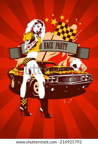 Motor race party design with fashion girl and retro car on red rays background - stock vector