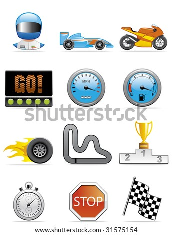 Motor racing icons - stock vector