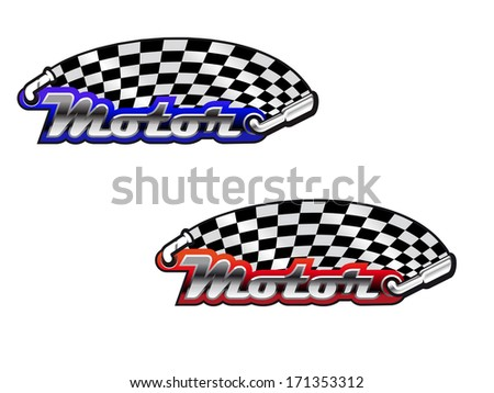 Motor racing icons, in red and blue color options, depicting the word Motor, with a stylized checkered flag logo above coming from an exhaust pipe and being spread by a windscreen wiper. - stock vector