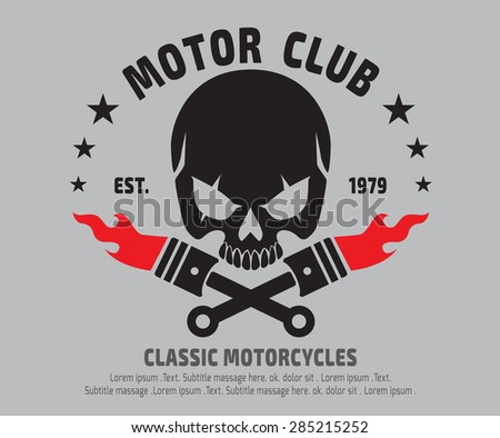 Motor skull emblem design vectorlogographicsticker label arm
