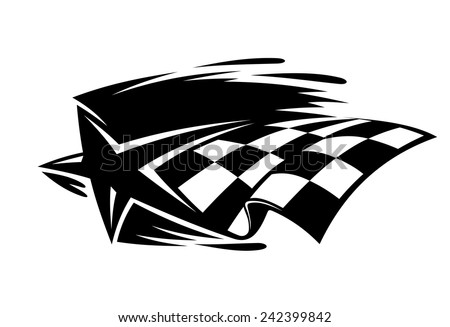 Motor sport icon with a black and white star and checkered flag with speed motion trails, vector illustration - stock vector