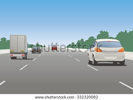 motor vehicles driving on highway - stock vector