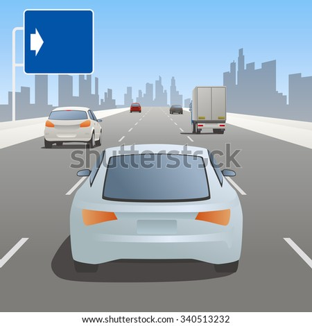 motor vehicles driving on highway and road sign - stock vector