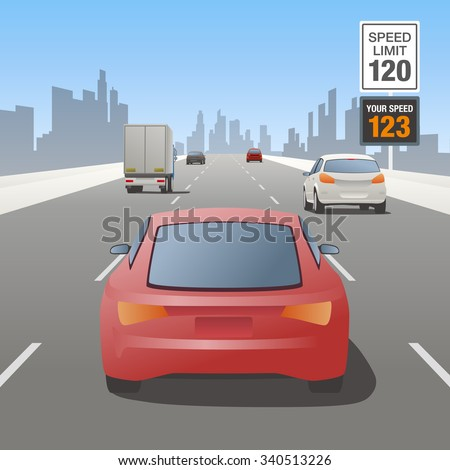 motor vehicles driving on highway and speed control sign - stock vector