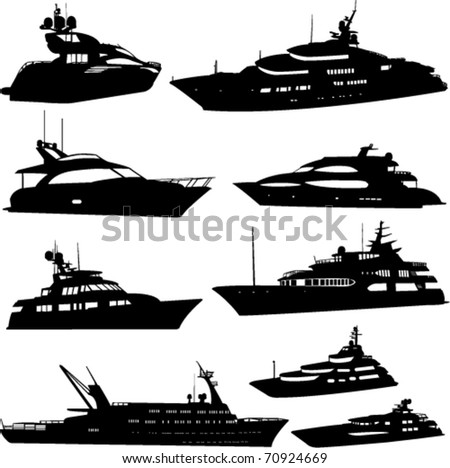 motor yacht collection - vector - stock vector