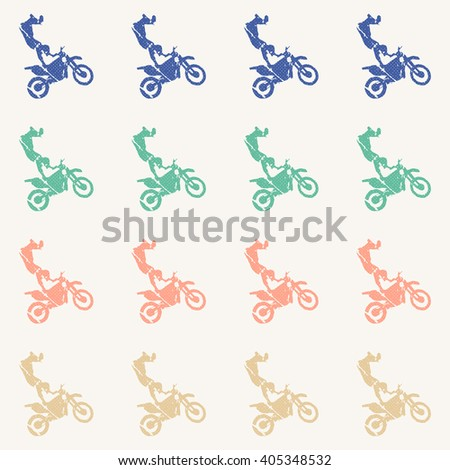 Motorbike pattern, Bikers Man illustration, image. Creative, luxury gradient color style image. Print label, banner, book, cover, card, clothes, emblem, wrap, wrapping. Street art scratch design - stock vector
