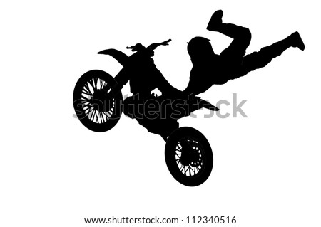 motorbike rider vector image jump at festival of Extremals sports - stock vector
