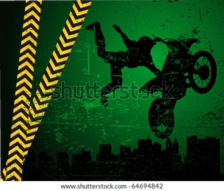 motorcross poster - rider on the motorcycle - stock vector