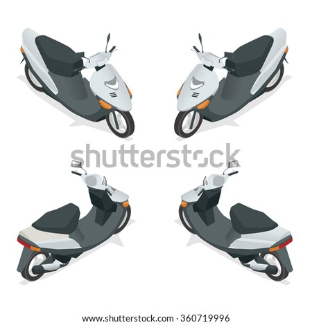 Motorcycle, bike, motorbike, scooter. Flat 3d isometric high quality city transport icon.  - stock vector