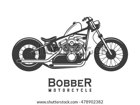 Motorcycle Bobber Custom Bike Vector Illustration 478902382