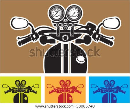 Motorcycle Cockpit Riders View - stock vector