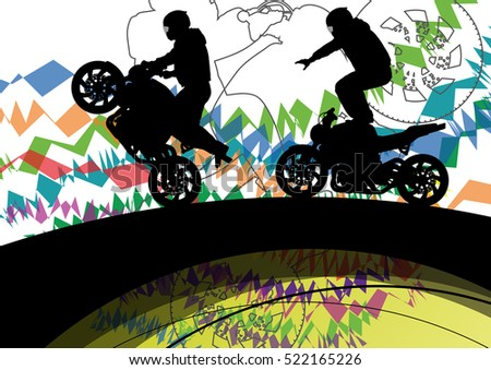 Motorcycle driver men silhouettes in abstract extreme sport background illustration vector