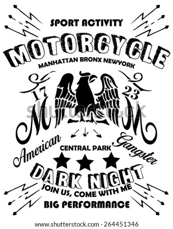Motorcycle Eagle American Logo Emblem Graphic Design - stock vector
