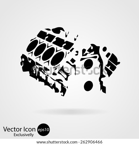 Motorcycle engine icon. Vector illustration. Exclusively - stock vector