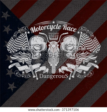 Motorcycle Graphics Illustration on USA Flag Background. T-shirt Design - stock vector