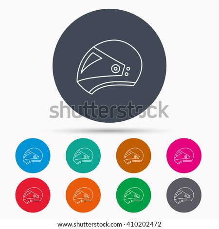 Motorcycle helmet icon. Biking sport sign. Icons in colour circle buttons. Vector - stock vector