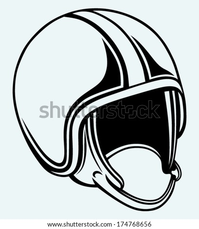 Motorcycle helmet. Image isolated on blue background - stock vector