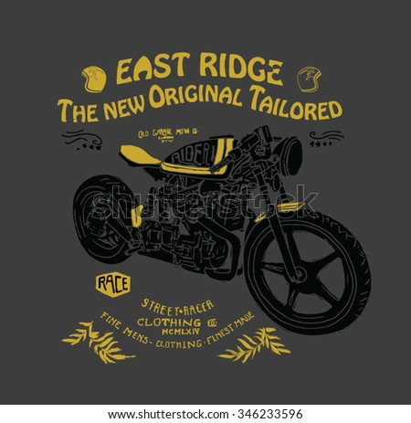 motorcycle illustration with type - stock vector