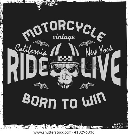 Motorcycle label with hand drawn skull and a helmet. T-shirt design. Vintage label.