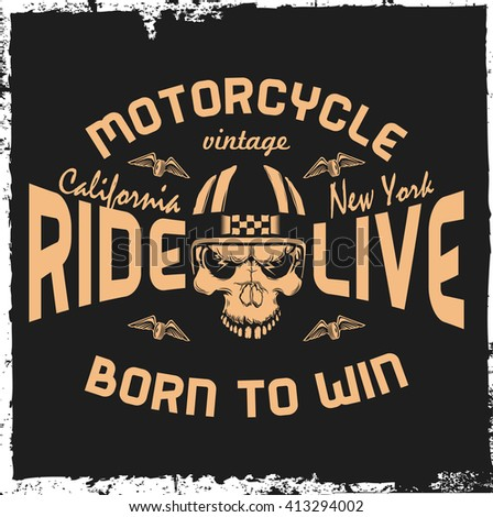Motorcycle label with hand drawn skull and a helmet. Vintage label. T-shirt design.