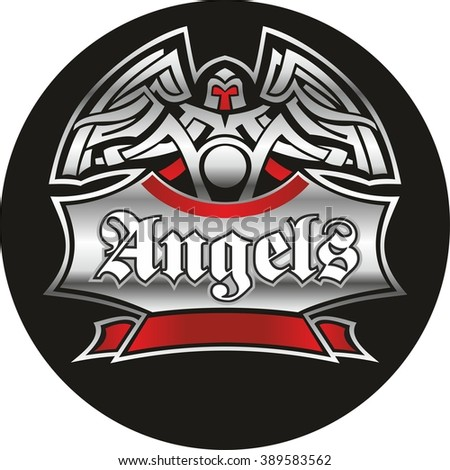 Motorcycle labels, badges, logotype and design elements. Vector illustration for club Angels.