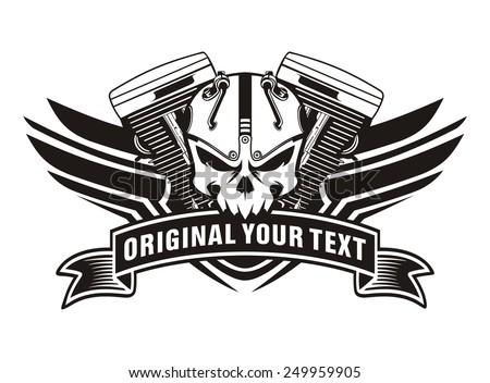 Motorcycle Machine Skull Wing Vintage Stock Vector