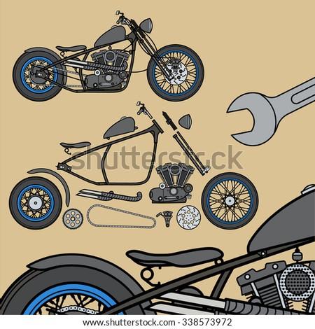 Motorcycle parts creator/constructor - stock vector