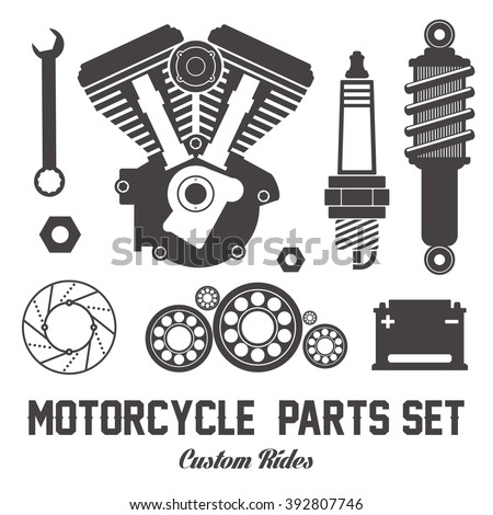 Motorcycle Parts Items Vector Flat Set 434816347